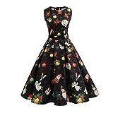 Weihnachtskleid , Dasongff Weihnachtskleid Damen Ärmellos Kleid Vintage Gedrucktes Kleid Swing...