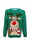 Hina Fashion Frauen Unisex Rudolph Print 3D-Pom Pom Nase Weihnachtspullover Sweater (X-Large,42,...