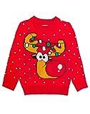 Shirtgeil Weihnachtspullover Kinder Mädchen Jungen Rudolph Rentier Pullover 106-116 Rot