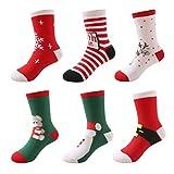 DEBAIJIA Weihnachten Auflage Baby Kinder Tube Socken Set(6er Pack) Jungen Mädchen Feierlich...