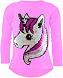 Unicorn Einhorn Mädchen Langarm Baumwolle Wendepailletten T-Shirt Bluse Long Shirt Pullover Pulli...