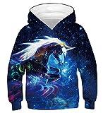 Fanient Kinder Jungen Hoodie Galaxy Einhorn Drucken Hoody mit Drucken Kids Galaxy Sweatshirt...