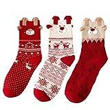 Valleycomfy 3 Paar Frauen Socken Baumwollsocken Herbst Winter Weihnachtsgeschenke