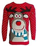 Herren Damen Strickpullover 3D Rudolph Rentier Elfe Weihnachten Pullover - Rote Bommel Nase, S