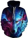 Imbry Herren Slim Fit Hoodie Long Sleeve Kapuzenpullover 3D Druck Muster Sweatshirt Pullover (S/M,...