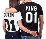 JWBBU King Queen T-Shirt Set für Paar König Königin t-Shirt Hochzeitstagsgeschenk...