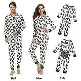 Aibrou Herbst/Winter Herren Lang Weihnachten Pyjamas, Einteiliger Bedruckte Schlafanzug Weiß S