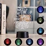 3D Illusion Nachtlicht, 7 Farben Wickeltisch Schreibtisch Dekorative Lampe für Schlafzimmer /...