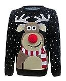 Friendz Trendz -Womens Unisex Rudolph 3d Nase Pom Pom Weihnachtspullover Drucken (M, black)