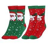 Andake [2 Paar COOLMAX Weihnachtssocken, Weihnachtsmann + Elch] Weihnachtsmotiv warm,...