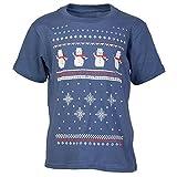 Kinder Schneemann Weihnachts T-Shirt - Jeansblau (XL age 12-14)