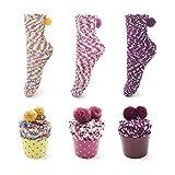 Leapop 1 oder 3 Paare Damen Mädchen Socken Cupcakes Design Flauschig Gemütliche Weiche Dicke Warme...