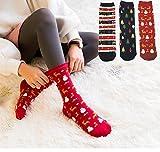 3 Stück Damen Weihnachtssocken Baumwolle Schraube Strümpfe Mädchen Socken für Weihnachten...