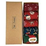 (5 Paar) LIKERAINY Baumwolle Frauen Dame Weihnachten Socken, Erwachsene Socken Weihnachtsgeschenke,...