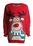 FK Styles Unisex Weihnachtspullover Rudolph Drucken 3D Nase Pom Pom