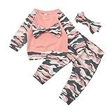 Kobay Neugeborenen Kleinkind Baby Mädchen Jungen Camouflage Bogen Tops Hosen Outfits Set Kleidung...