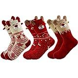 MAKFORT 3 Paar Weihnachtssocken Damen Baumwolle Winter Warm Weihnachten Socken Rentier Schneeflocke...