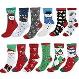 Ayliss 12 Paare Mix Design Frau Mädchen Weihnachten Festlicher Spaß Neuheit Cotton Socken...