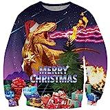 Goodstoworld Weihnachten Dinosaurier Pullover Funny 3D Christmas Pullover Jugendliche Mädchen...