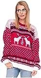 Damen Sweater Sweatshirt Pullover Merry Christmas Rentier Weihnachten Pulli Elf (Onesize, Rentiere...