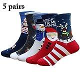 Zoylink 5 Paare Kinder Weihnachtssocken Elch Santa Schneemann Druck Baumwolle Crew Socken