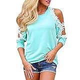 TWIFER Damen Mädchen Weihnachtspullover Langarm Schulterfrei Bluse Long Sweatshirt (S, X-Blau)