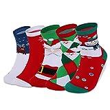 Vbiger 5 Paar Weihnachtssocken Christmas Socks Baumwolle Socken für Damen mit einer Geschenkbox