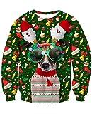 NEWISTAR Jungen Weihnachtpullover 3D Weihnachten Hund Gedruckt Pullover Damen Weihnachten Jumper...