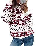 Weihnachten Damen Pullover, Teenager Mädchen Weihnachtspulli Rentier und Schnee Langarm Christmas...