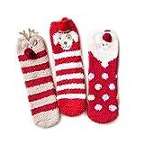 SAMGOO 3 Paare Set Damen Socken Mädchen Weihnachtssocken Weihnachtsmotiv Innenfell Extra dicke...