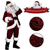 C-Oral Weihnachtsmann Nikolauskostüm Kostüm für Herren, 6 teilliges Weihnachten Santa Claus...