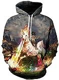 Imbry Herren Slim Fit Hoodie Long Sleeve Kapuzenpullover 3D Druck Muster Sweatshirt Pullover...