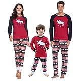 Aibrou Damen Weihnachten Schlafanzug Pyjama Set Lang Nachthemd Nachtwäsche Hausanzug mit...