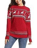 Abollria Damen Lang Strickpulli mit Rentiermuster Weihnachtspullover Rundhals Winterpulli Christmas...