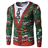 MILEEO Men's Christmas Slim Fit Long-Sleeved Sweatshirts with 3D Colourful Print 13 color, L