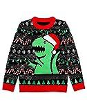 Shirtgeil Weihnachtspullover Kinder Jungen Mädchen T-Rex Strickpullover Sweater 96-104