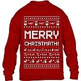 Ugly Merry ChristMath Kinder Weihnachtspullover Kinder Pullover Sweatshirt 134-146cm Rot