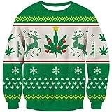 Goodstoworld Reindeer Ugly Christmas Sweater Partner 3D Elf Grafik Hässliche Weihnachtspullover...