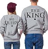 Ziwater Paar Pullover Pärchen Sweatshirt Langarm Rundhals King und Queen Druck Pullover für Herbst...