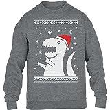 KIDS - T-Rex Santa Weihnachtspullover Motiv Witzig Kinder Pullover Sweatshirt Small Grau