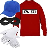 Kids Panzerknacker Kostüm Pulli + MÜTZE + Maske + Handschuhe Kinder Pullover Sweatshirt S 122/128...