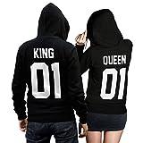 King Queen + Wunschnummer Set 2 Hoodies Pullover Pulli Liebe Love Pärchen Couple Schwarz (King Gr....