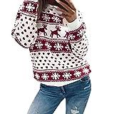Christmas Pullover Bluse Tops Damen Weihnachten Blumen Drucken langarm Sweatshirt cute Hemd Mantel...