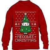 Kids Meoowee Christmas Tannenbaum Weihnachtspullover Kinder Pullover Sweatshirt 122-128cm Rot