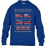 KIDS Toller Feuerwehr Weihnachtspullover Kinder Pullover Sweatshirt L 134/146 (9-11J) Blau