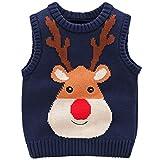 JiAmy Kinder Weihnachtspullover Strickweste Ärmellos Pullover Baumwolle Hirsch Sweatshirt Blau 2-3...