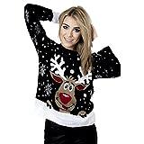 Frauen Pullover Langarm Stern Twin Rudolph Neuheit Weihnachts size 34-42 (S/M EU36-38, Schwarz)