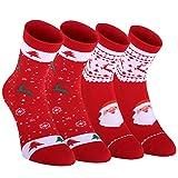 Fazitrip Weihnachten Socken Weihnachtssocken Weihnachtsstrumpf 2 Paar Socken Christmas Stocking...