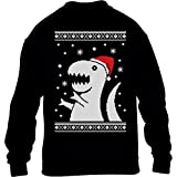 Kids - T-Rex Santa Weihnachtspullover Motiv Witzig Kinder Pullover Sweatshirt L 134/146 Schwarz