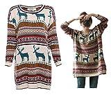 Adelina Weihnachtspullover Damen Winter Fashion Reindeer Strickpulli Langarm Rundhals Bekleidung...